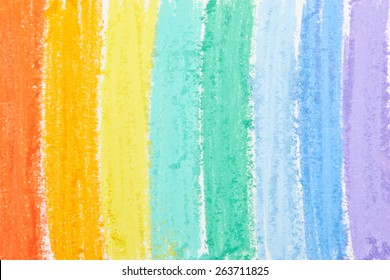 Rainbow background painted with pastels