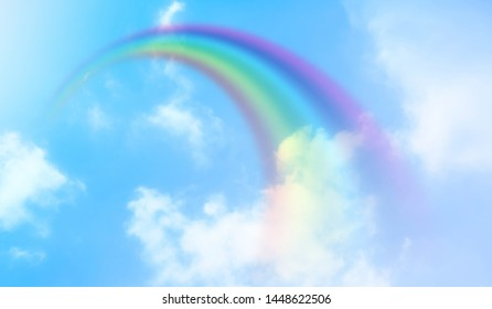 Rainbow background and sky with white clouds