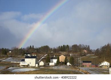 Rainbow in a beautiful day, Lofoten Islands, Norway, Europe