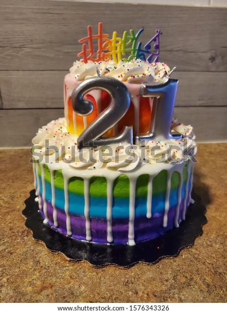Groovy Rainbow Birthday Cake 21 Year Old Stock Photo Edit Now 1576343326 Funny Birthday Cards Online Barepcheapnameinfo