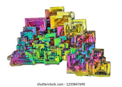 rainbow bismuth crystals isolated on white background