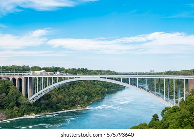 Rainbow Bridge above Niagara River. The arch bridge between the United States of America and Canada.