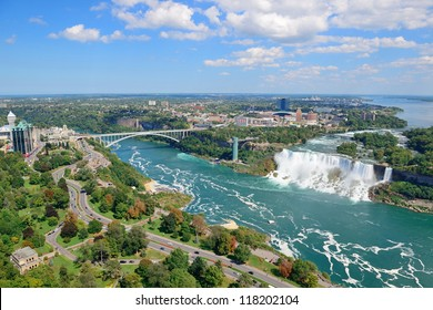 Rainbow Bridge and American Falls over river with blue sky