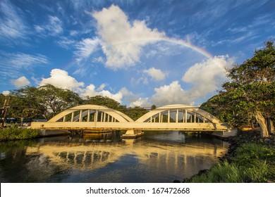 Rainbow Bridge in Haleiwa, Oahu North Shore Hawaii