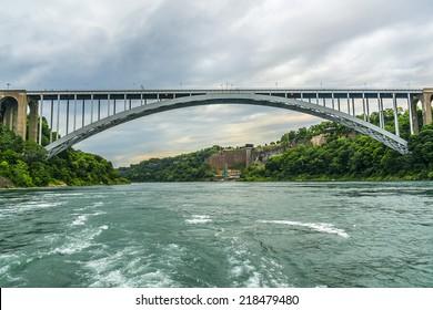 Rainbow Bridge at Niagara Falls - international steel arch bridge across the Niagara River - world-famous tourist site. It connects cities of Niagara Falls, New York (USA) and Niagara Falls (Canada).