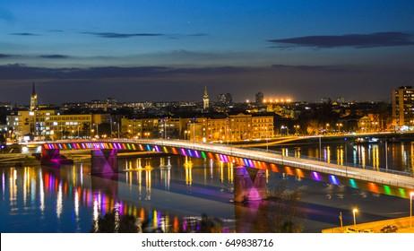 Rainbow bridge in Novi Sad, Serbia - Shutterstock ID 649838716