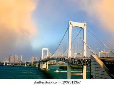 Rainbow bridge in Tokyo city at Japan.tif