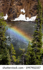 Rainbow at the Brink of the Upper Falls on the Yellowstone River, vertical