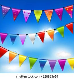Rainbow Bunting Banner Garland With Blue Sky