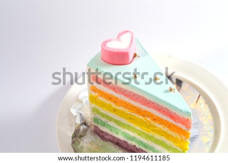 Rainbow Cake On White Background Stock Photo Edit Now 1194611185