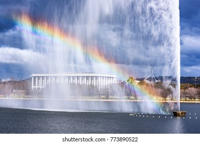 Rainbow at Captain Cook Memorial Jet in Canberra