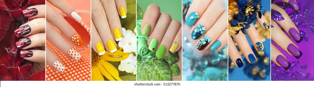 Rainbow collection of nail designs for summer and winter time of year with glitter,sequins and various decorations with flowers.