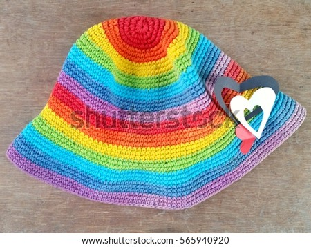 bec1094e822 Rainbow Color Hat Paper Hearts On Stock Photo (Edit Now) 565940920 ...