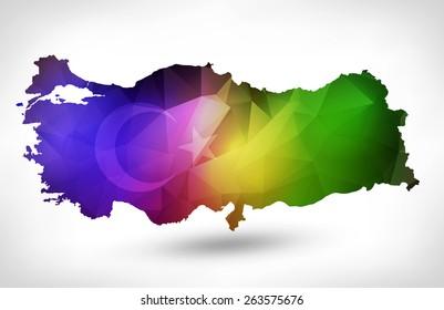 Rainbow color map turkey geometric design stock vector 346933514 rainbow color map of turkey with geometric triangle design raster version gumiabroncs Gallery