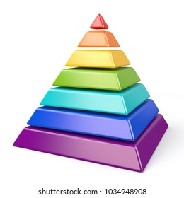 Rainbow color pyramid 3D render illustration isolated on white background