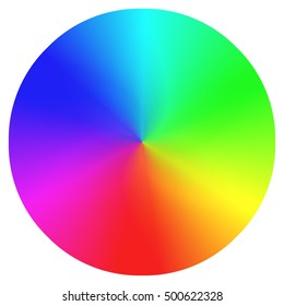 A rainbow color wheel on a white background