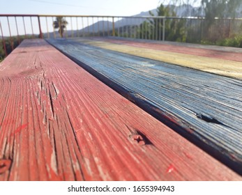 Rainbow colored beautiful wooden lines