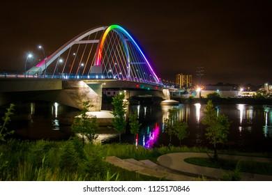 Rainbow colored bridge