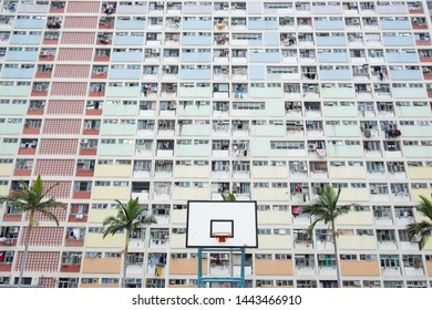 Rainbow colored building in Hong Kong. A public housing estate called Choi Hung in Hong Kong, Kowloon.