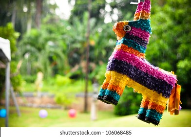 Rainbow colored donkey pinata