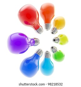 Rainbow colored electric bulbs arranged in a circle isolated on white