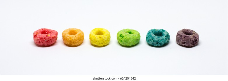 Rainbow Colored Fruit Cereal in Order by Color