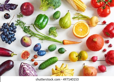 Fruits and vegetables stock images royalty free images vectors rainbow colored fruits and vegetables on a white table juice and smoothie ingredients healthy altavistaventures Gallery