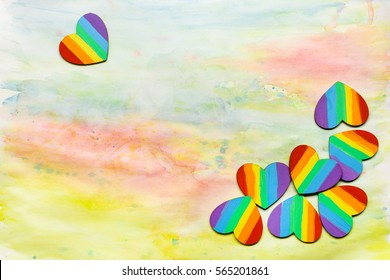 Rainbow colored hearts for Valentine's Day lgbt theme