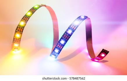 rainbow colored LED strip