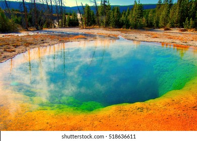 Rainbow Colored Morning Glory Natural Hot Spring Pool in Yellowstone National Park in Montana