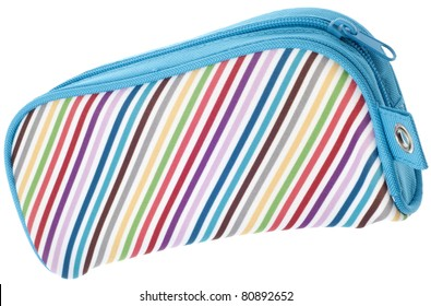 Rainbow Colored Pencil Case Closed Isolated on White with a Clipping Path.
