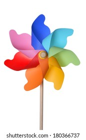 Rainbow colored pinwheel on white