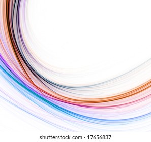 Rainbow colored threads in curving effect with copy space - fractal abstract background