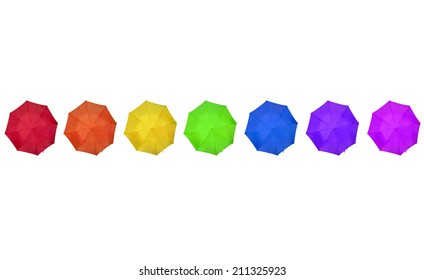 rainbow colored umbrellas on white