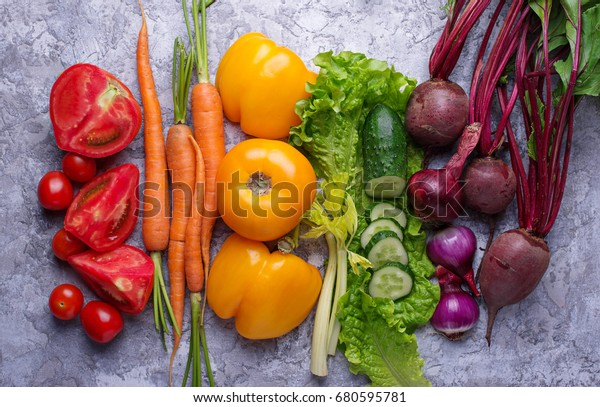 Rainbow colored vegetables. Healthy food concept. Top view