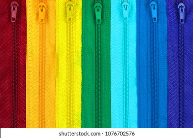Rainbow colored zippers