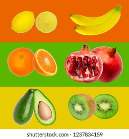 Rainbow colorful fresh tropical fruit stripes collection on colorful background, yellow, red, green colors