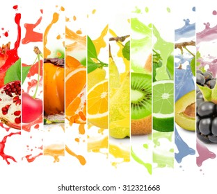 Rainbow colorful fruit stripe collection with splash on white background