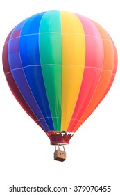 Rainbow colorful hot air balloon with basket isolate on white background with clipping path