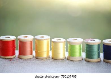 Rainbow of Colorful Thread Spools