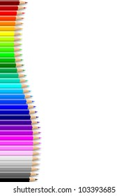 Rainbow of colorful wavy pencils wall on empty notebook white sheet illustration