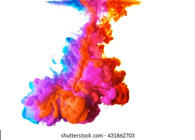 Rainbow of colors. Acrylic Ink in water isolated on white background with copy space. Color Explosion