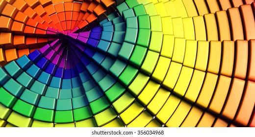 Rainbow colors boxes - pie shape