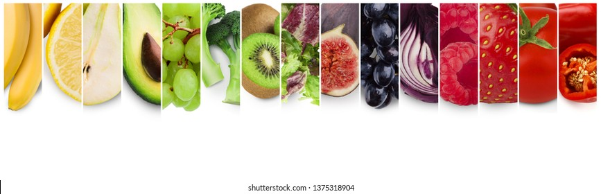 Rainbow colors collage of fresh organic fruits, berries and vegetables, panorama, empty space