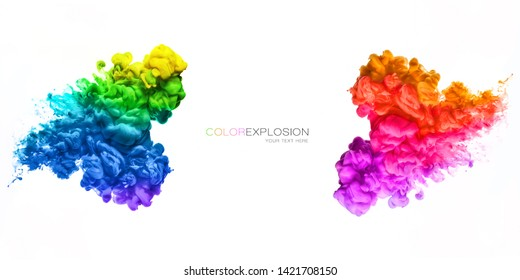 Rainbow of colors. Colors explosion. Ink in water isolated on white background.