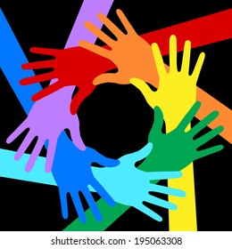 Rainbow Colors Hands Icon on black background, raster illustration