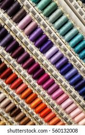 Rainbow  colour Cotton thread reels for craft