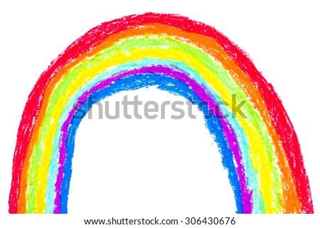 rainbow crayon on white background stock photo edit now 306430676
