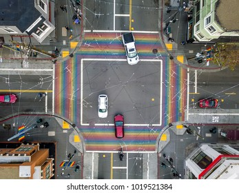 Rainbow crosswalk in Castro District in San Francisco in California USA. Horizontal aerial photo.