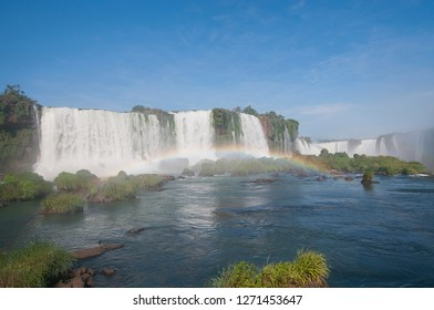 Rainbow in the Devil's Throat (Garganta del Diablo) of the Iguazu waterfalls, the largest in the world. Iguazu Falls located on the Iguazu River on the border of the Argentina,Brazil